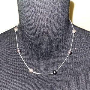 """NWT Napier faux pearl station silver 18"""" necklace"""
